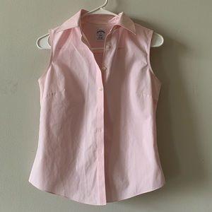 Brooks Brothers pink sleeveless button up shirt